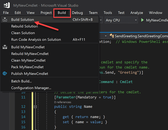 Build the powershell cmdlet dll file in visual studio