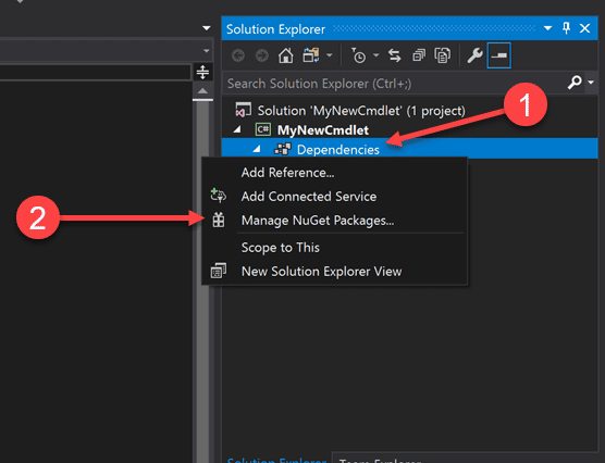 Manage nuget packages for new powershell cmdlet