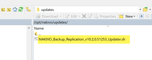 Nakivo backup and replication v10.2 update script uploaed to the appliance
