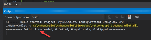 Powershell cmdlet dll file build completes successfully in visual studio
