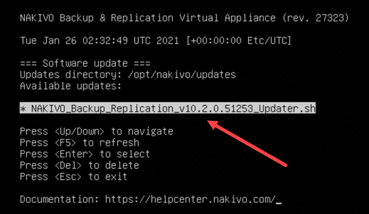 The nakivo backup and replication v10.2 script displays for update