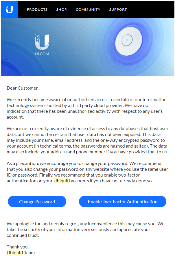 Ubiquiti notice of data breach