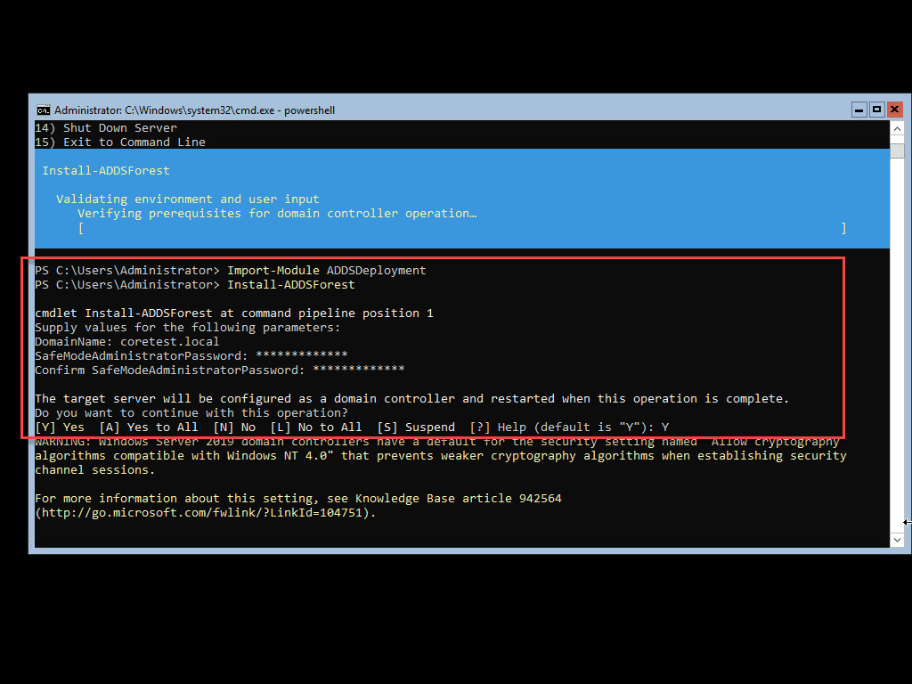 Using powershell to finish out the deployment of the windows server 2019 core domain controller installation