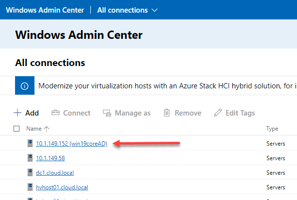 Windows server 2019 core server successfully added to windows admin center