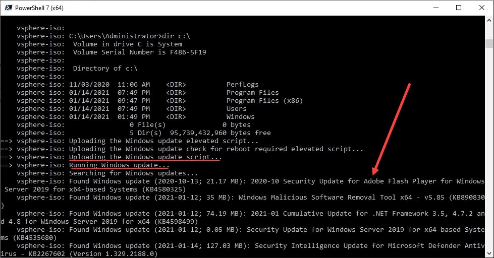 Windows update provisioner begins scanning and downloading available updates for your windows server