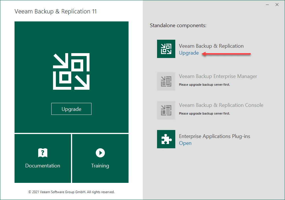 Choose to upgrade your veeam backup and replication server