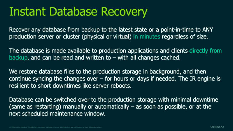 Instant database recovery in veeam version 11