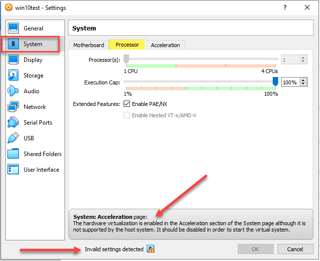 Invalid system settings error displayed in the virtualbox processor settings