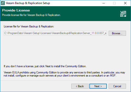 Provide your license for veeam v11 or choose the community edition