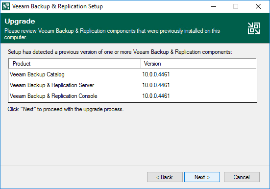 Review the currently installed veeam backup and replication components