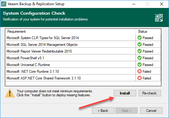 Review the system configuration check and install missing components