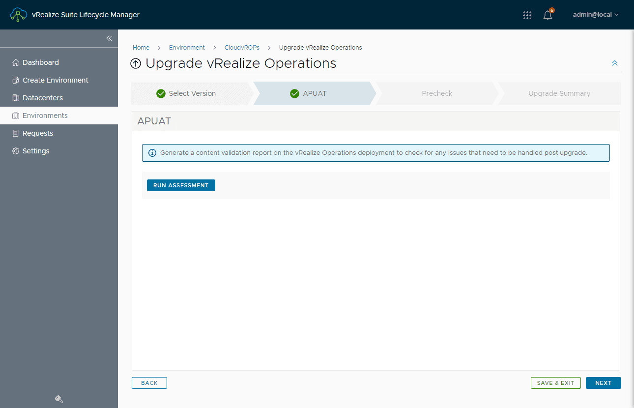 Run the upgrade assessment for vrealize operations 8.3