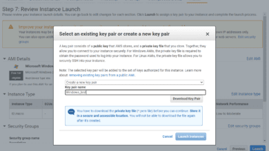 Selecting an existing aws key pair or creating a new one during windows aws ec2 launch