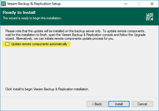 Update remote coponents automatically option with veeam backup and replication v11