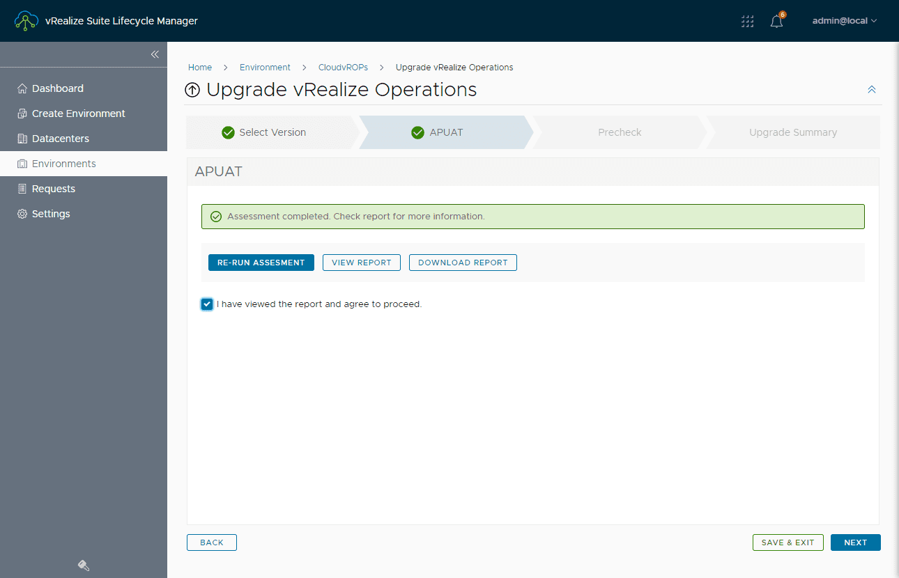 Upgrade assessment to vrealize operations 8.3 has succeed proceed to next step