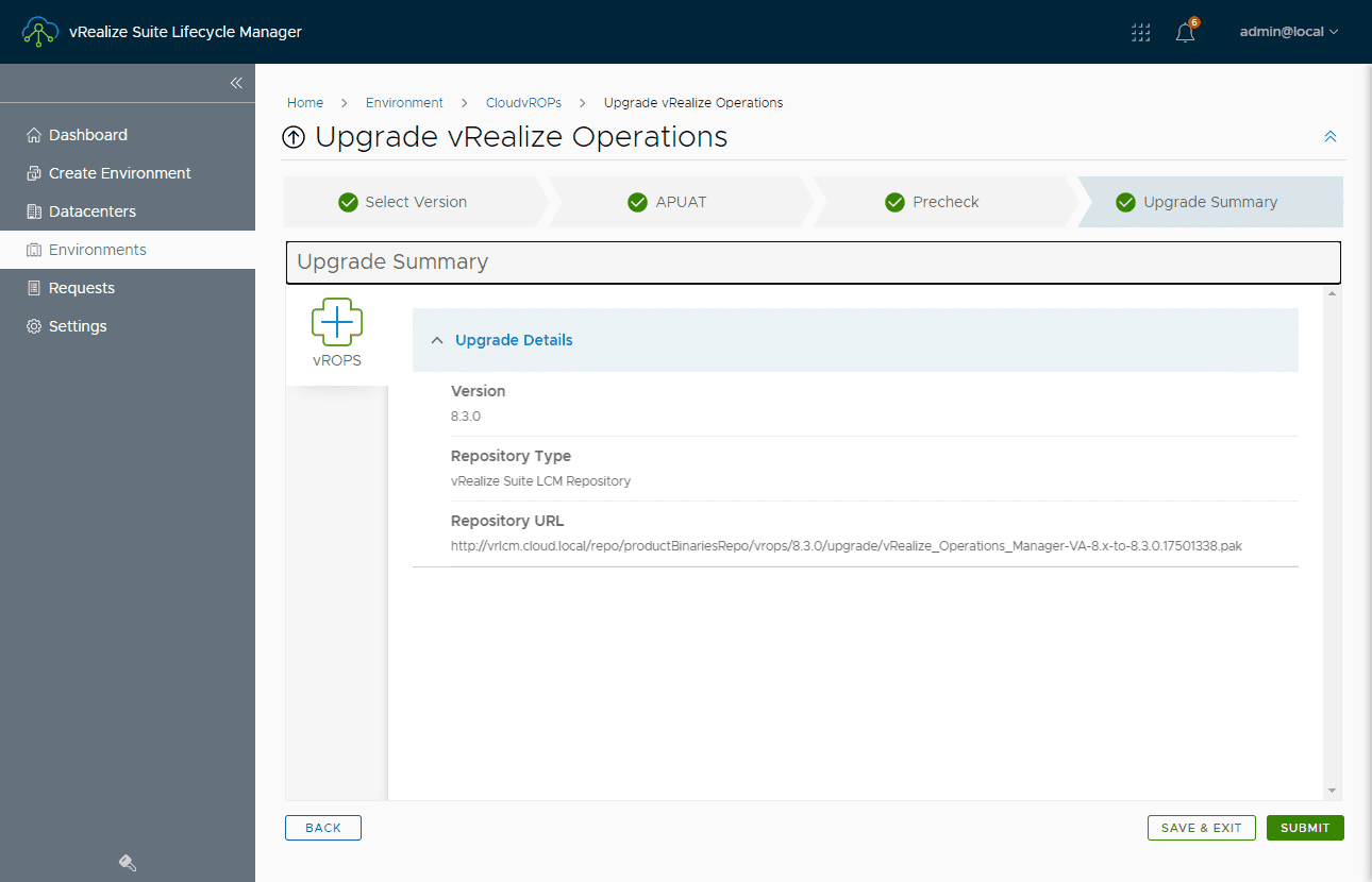 Upgrade summary shown before proceeding with the upgrade to vrealize operations 8.3
