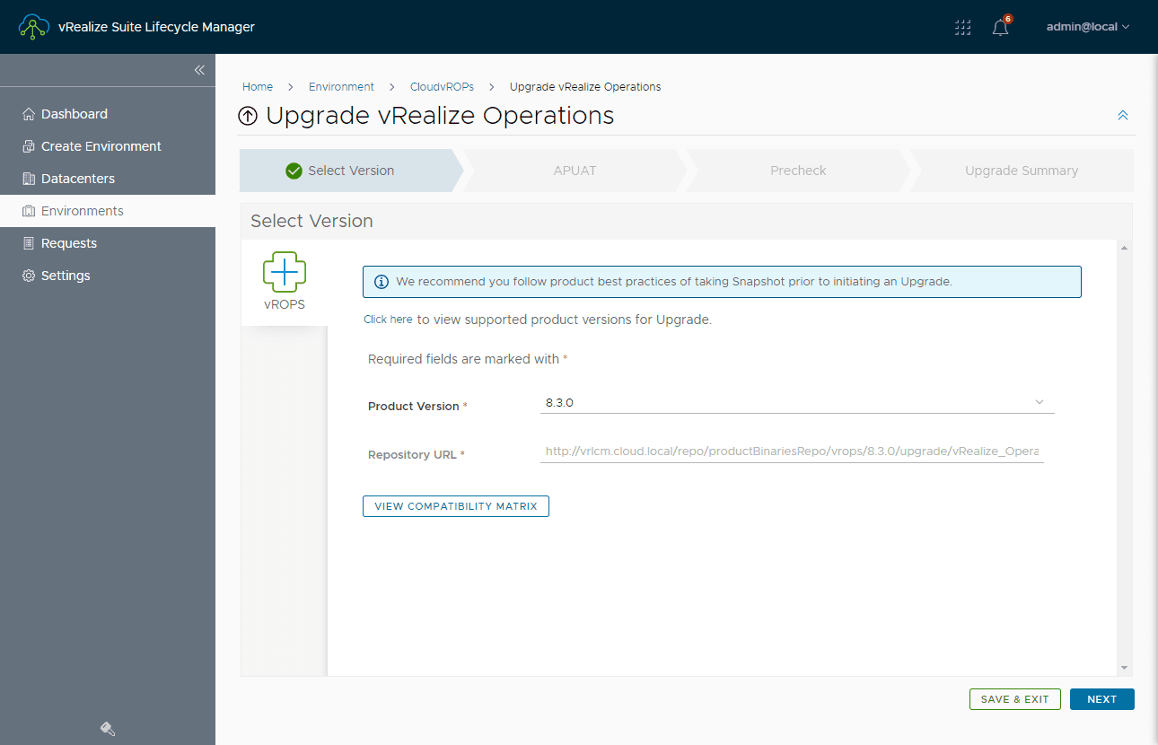 Upgrading vrealize operations manager 8.2 to 8.3