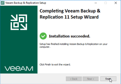 Veeam v11 installation finishes successfully