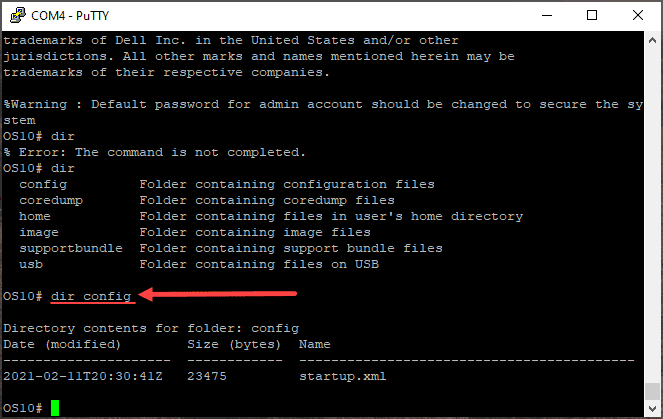 Viewing switch xml file configuration for dell os10