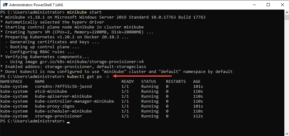 Accessing the minikube kubernetes cluster with the kubectl command