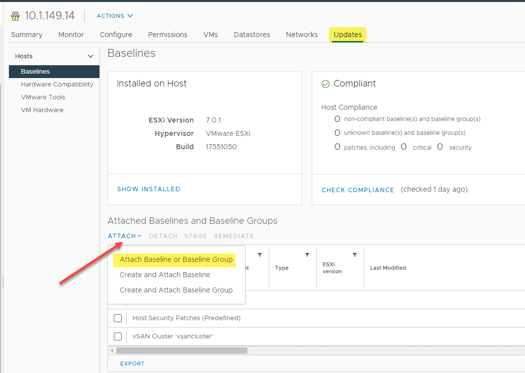 Attaching th vsphere 7.0 update 2 upgrade baseline to an esxi host