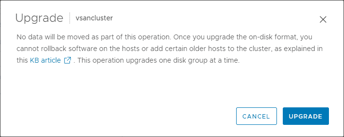 Click upgrade to begin the upgrade of the on disk format version to vsan 7.0 update 2 version 14