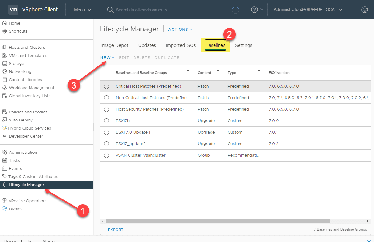 Creating a new upgrade baseline for vsphere 7.0 update 2