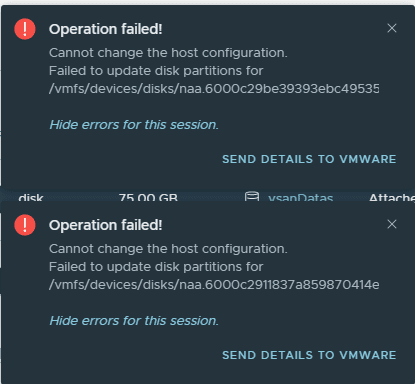 Error trying to erase vsan partitions even in maintenance mode