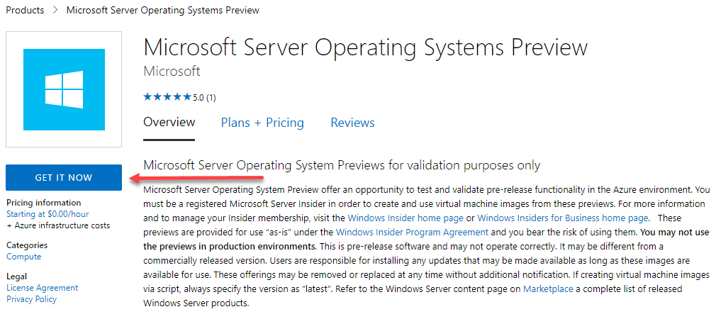 Getting started accessing the microsoft server operating systems preview for azure