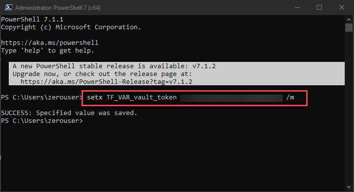 Using setx to set the tf var vault token variable