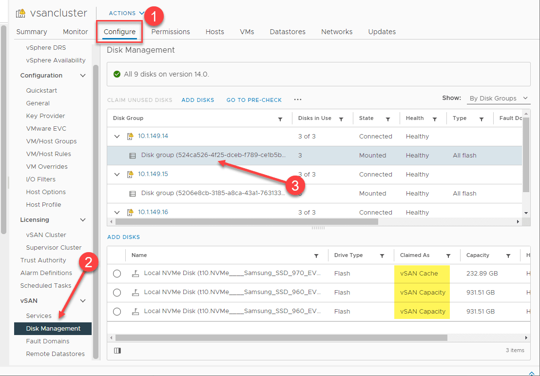 Viewing the disk group configuration in a vsan cluster