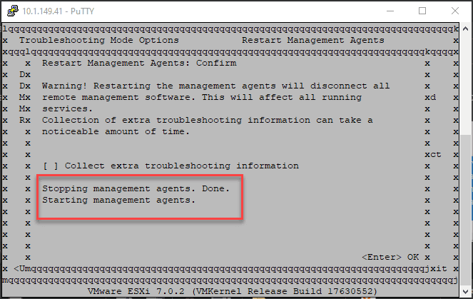 Esxi agents are stopped and then started