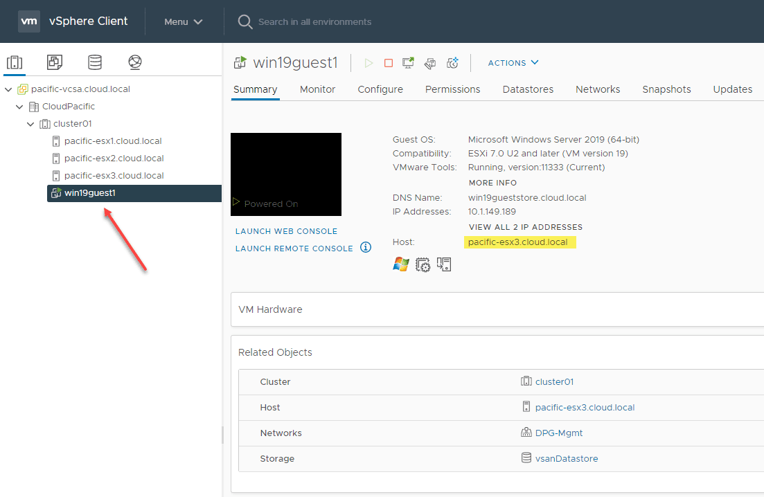 Vmware vsphere cluster with a running virtual machine